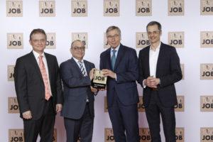 (von links) Thorsten Hiebenthal (Bereichsleiter), Holger Rosenberger (Geschäftsführer), Wolfgang Clement (Wirtschaftsminister a.D. und TOP JOB-Mentor), Gerd Hübner (CFO)