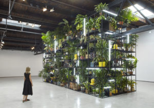 Rashid Johnson Antoine's Organ, 2016 Black steel, grow lights, plants, wood, shea butter, books, monitors, rugs, piano Installation View, 'Rashid Johnson. Fly Away', Hauser & Wirth, New York NY, 2016. © Rashid Johnson Courtesy the artist and Hauser & Wirth.